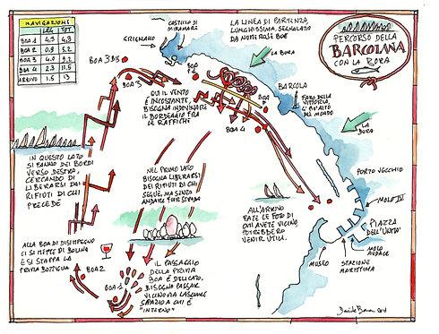 Mappa della Barcolana con la Bora