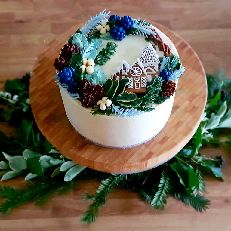 Festive Gingerbread Wreath Cake Class