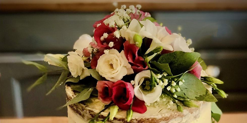 Elegant Fresh Flower 'Semi Naked' Cake