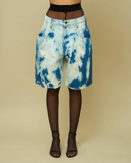 Tie Dye Denim Bermuda Shorts