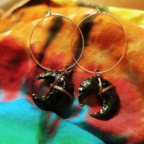 Obsidian Crystal Moon Earrings