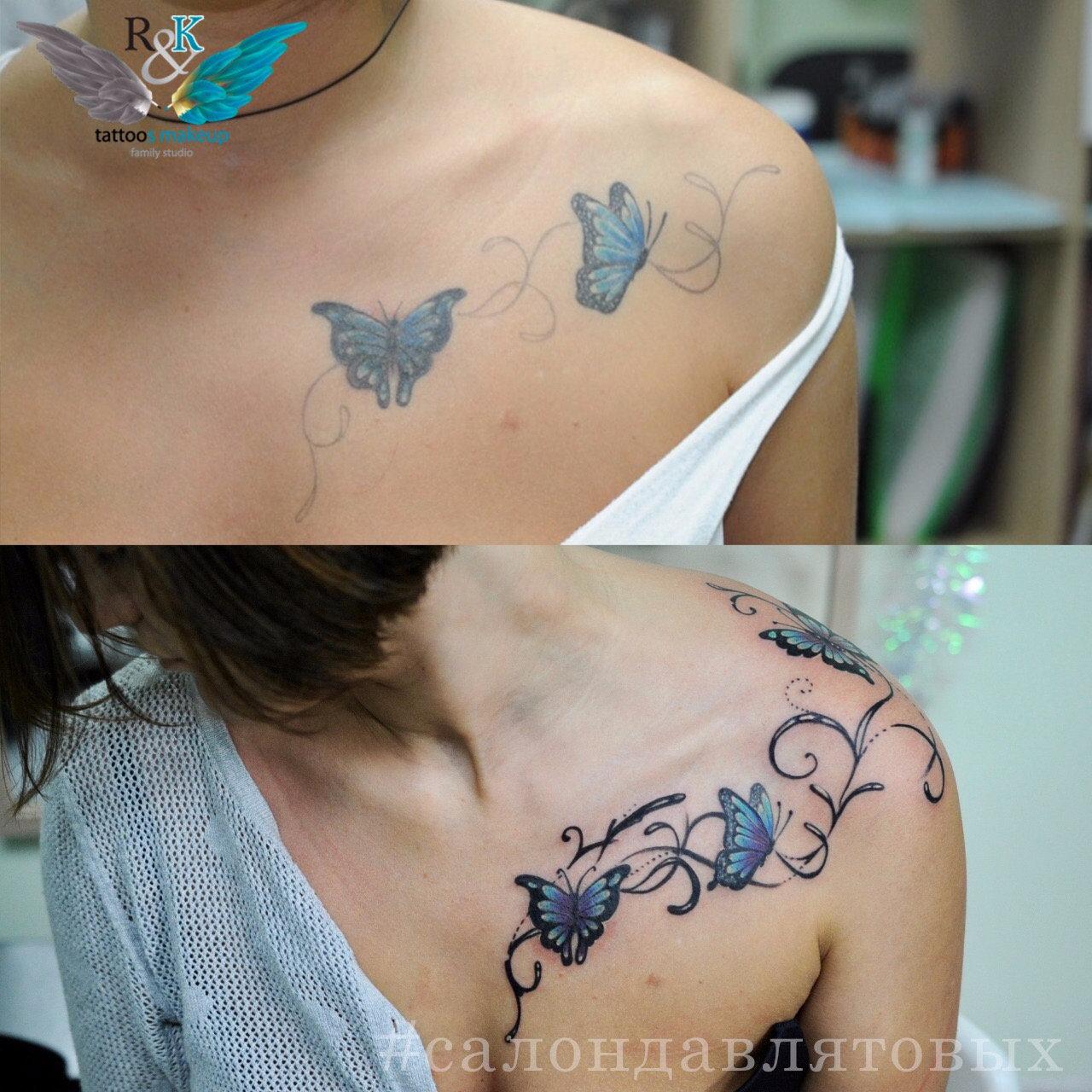 Перекрытие, исправление татуировки.
