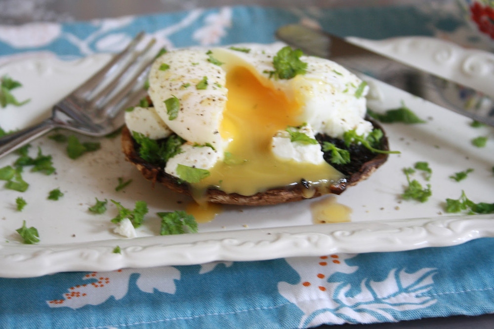 Grilled mushroom and poached eggs