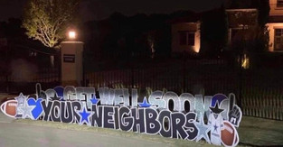 Dak Prescott receives huge sign from neighbors urging him to 'get well soon' after ankle surgery