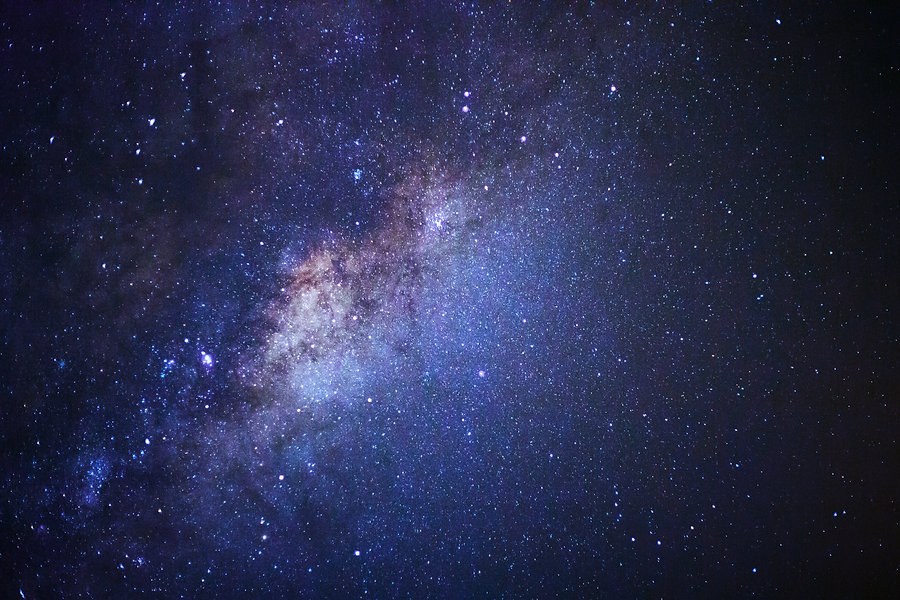 Close-up of Milky way galaxy with stars