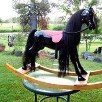 1950's Black Rocking Horse After