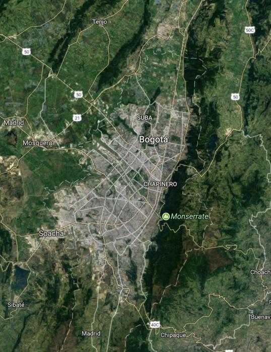 Map of Bogotá