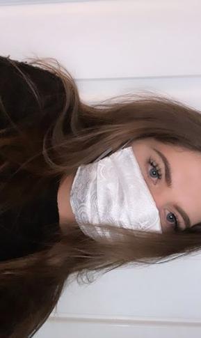 White Brocade Face Mask