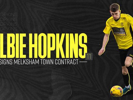 Albie Hopkins signs a Melksham Town FC contract