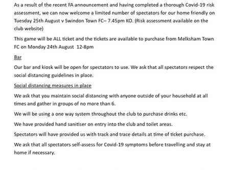 Information for spectators-Swindon Town FC game
