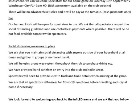 Guidance for spectators- Winchester City game