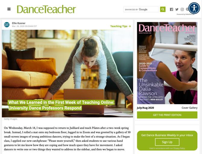 Feature in Dance Teacher Magazine