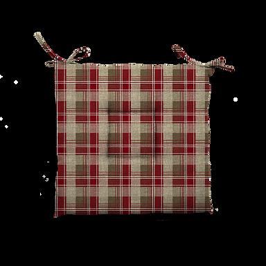 Cuscino Creta trapuntato tartan rosso