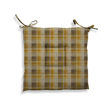 Cuscino Creta trapuntato tartan giallo