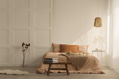 Completo letto in cotone arancione