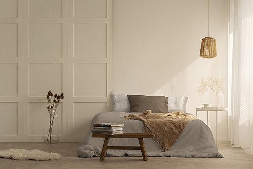 Completo letto in cotone tortora