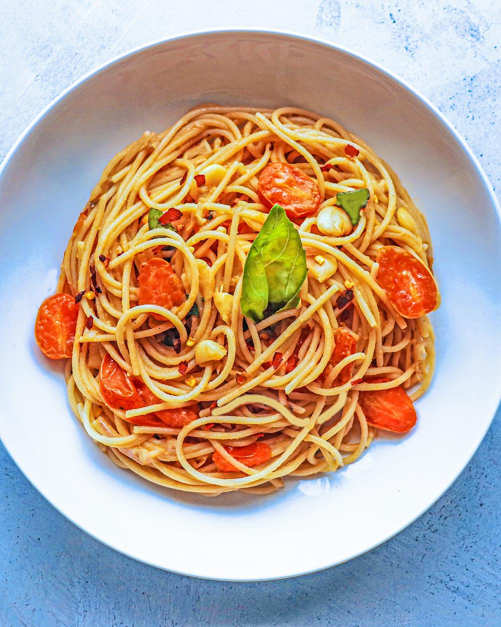 Tomato Basil Spaghetti with Butter Beans - gluten free