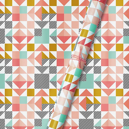 Peach Geometric Wrapping Papers (Set of 5)