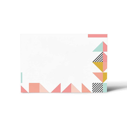 Peach Geometric Flat Cards (Set of 40)