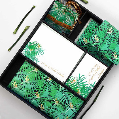 Exotic Palm Luxury Box - Navy/Silver