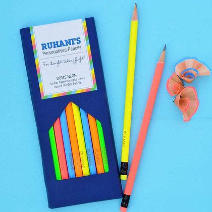 Personalised Neon Pencils (Set of 10)