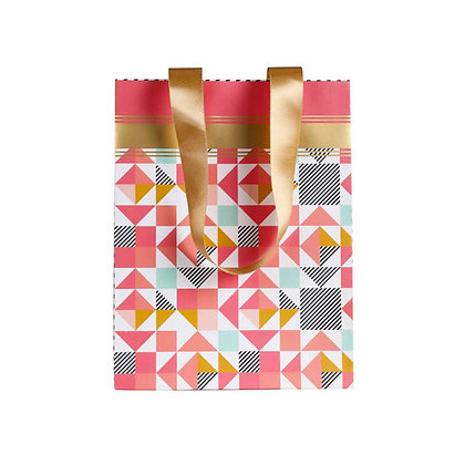 Peach Geometric Small Bags (Set of 3)