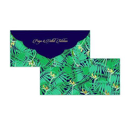 Exotic Palm Money Envelopes (Set of 20) - Navy/Silver