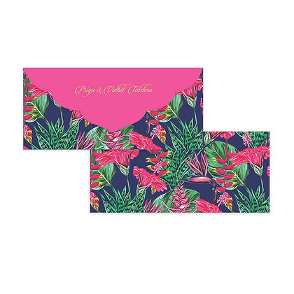 Exotic Floral Money Envelopes (Set of 20) - Navy/Silver