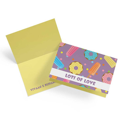 Lollies & Doughnuts Fold Cards With Envelopes (Set of 20)