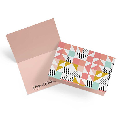 Peach Geometric Fold Cards (Set of 20)