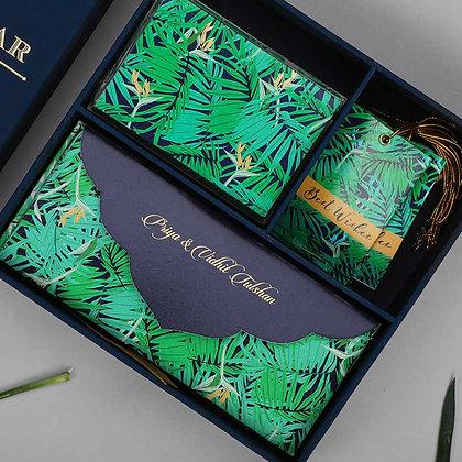 Exotic Palm Midi Box - Navy/Silver