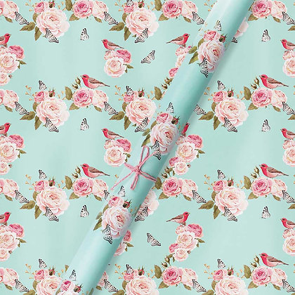 Vintage Floral Blue, Wrapping Papers (Set of 5)