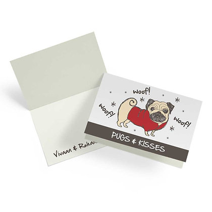 Doggies Pug Fold Cards With Envelopes (Set of 20)