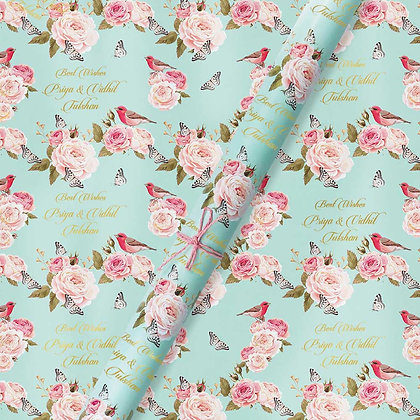 Vintage Floral Blue, Personalised  Wrapping Papers (Set of 30)