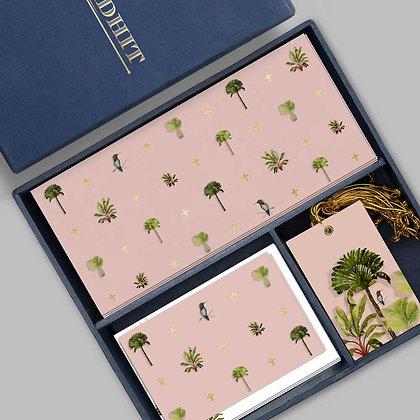 Palms Midi Box-Peach/Turquoise