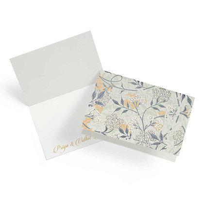 Mystical Garden Fold Cards (Set of 20)-Olive/Blue