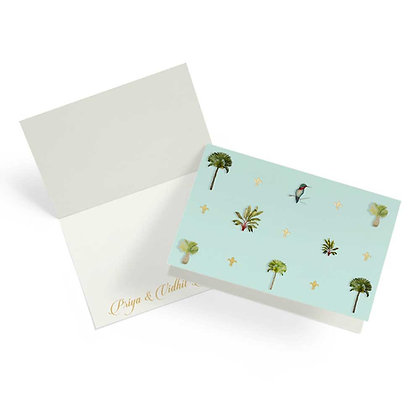 Palms Turquoise Fold Cards (Set of 20)