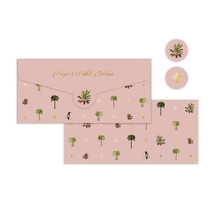 Palms Money Envelopes-Peach/Turquoise (Set of 20)
