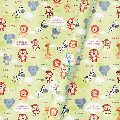 Baby Animals Personalised Wrapping Paper (Set of 30)