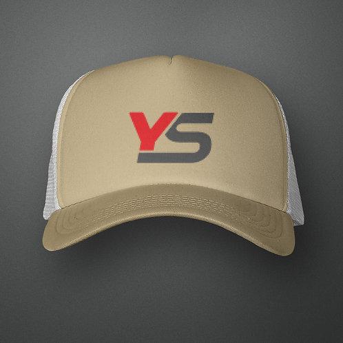 YoMan Sports YS Logo Khaki/White Trucker Hat