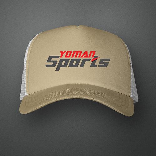 YoMan Sports Logo Khaki/White Trucker Hat