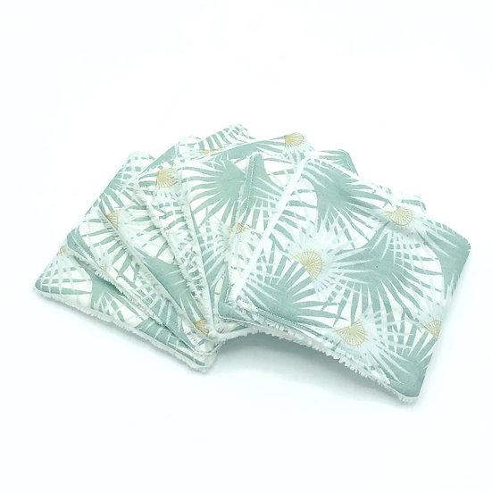 Lot de 7 lingettes démaquillantes Palmette vert d'eau