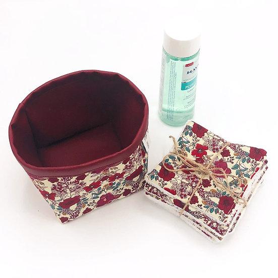 Lot vide poche et 7 lingettes démaquillantes Florette rouge