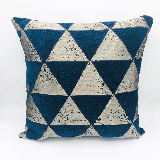 Housse de coussin velours Triangles Bleu et doré