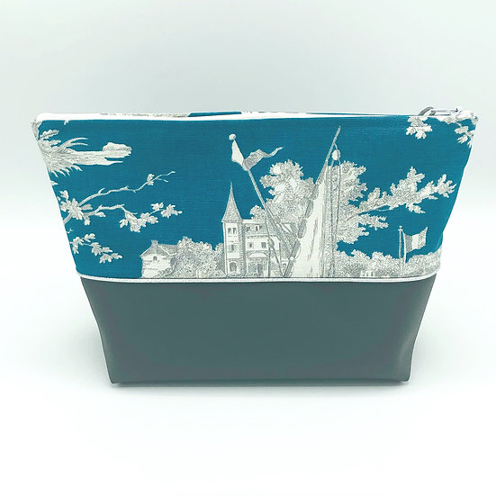 """Trousse de toilettes Toile de Jouy """"Histoire d'eau"""" Bleu canard  Petit format"""