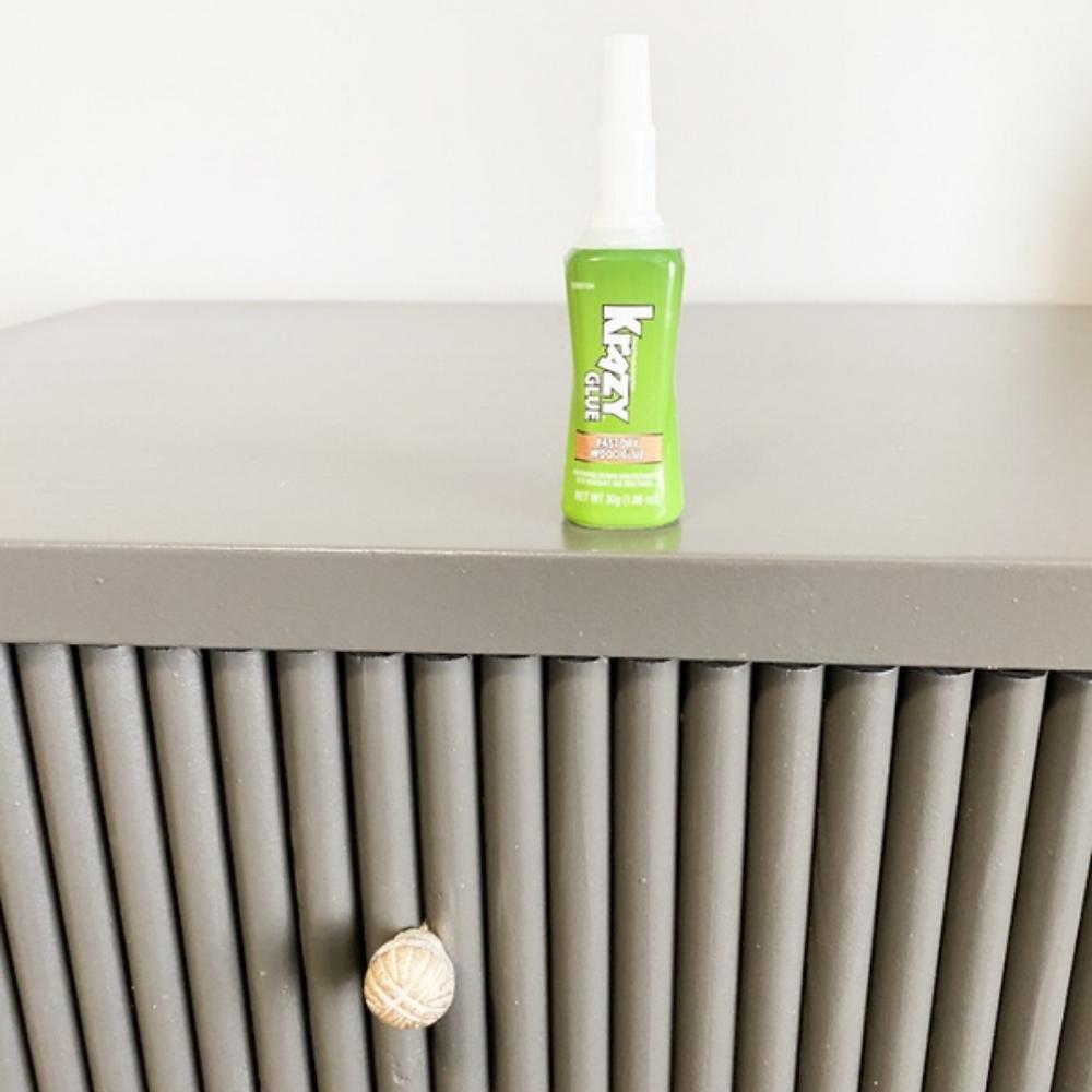 Krazy Glue for DIY Fluted Dresser