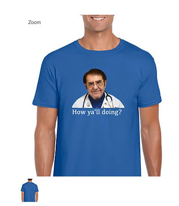 """Blue """"How y'all doing?"""" unisex cotton t - shirt"""