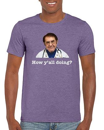 "Purple ""How y'all doing"" unisex cotton t - shirt"