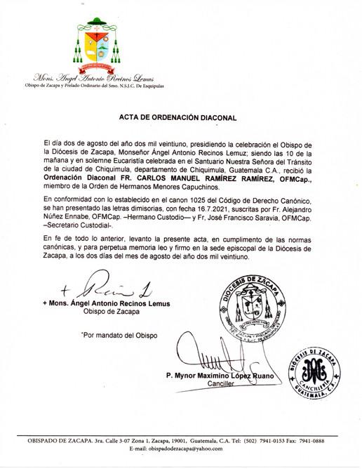 Acta de Ordenación Diaconal