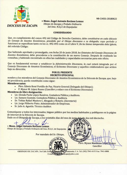 Nombramiento Consejo Diocesano de Asuntos Económicos